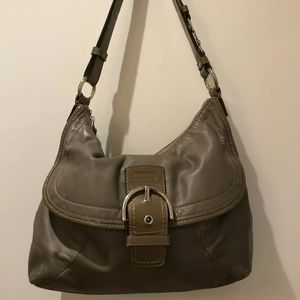 Coach Taupe Brown Leather Handbag
